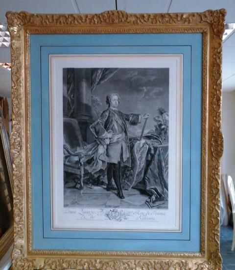 gravure ancienne encadrée en lavis avec cadre de style Louis XIV
