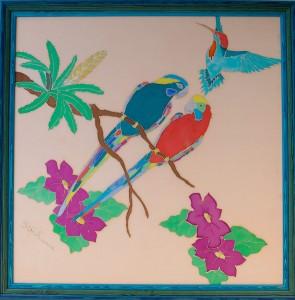 peinture sur soie tendue sur carton